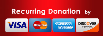 Recurring donation with credit/debit card or bank account